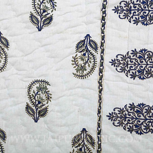 Single Quilt Blue Block  Golden Print  Reversable