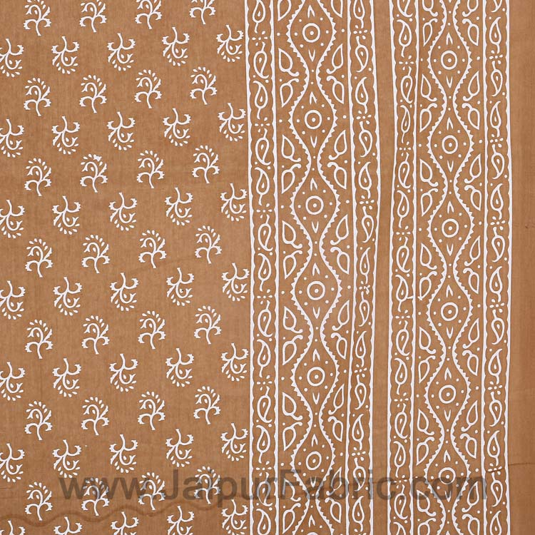 Double Bedsheet Dusty Brown Small Leaf Print