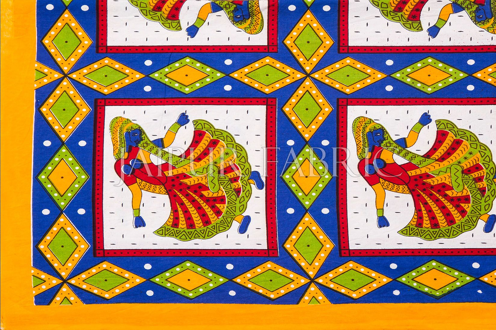Yellow Jaipuri Ghoomar Dance Print Cotton Double Bed Sheet