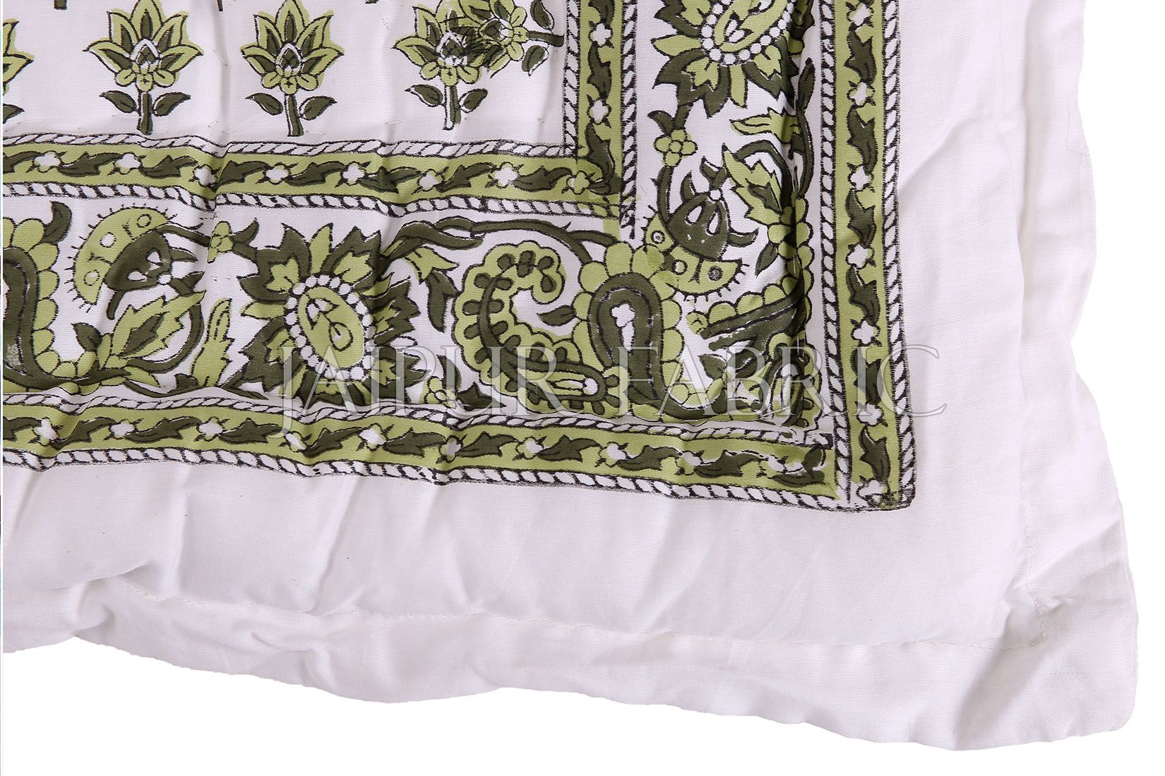 White Base Olive Tropical Print Cotton Double Bed Quilt