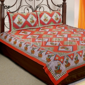 Red and Orange Border With Beige Color Design Double Cotton Bed Sheet