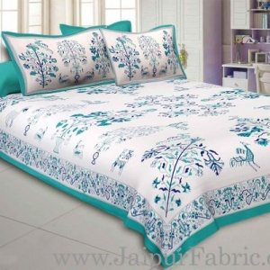 Seagreen Drawing Double Bedsheet