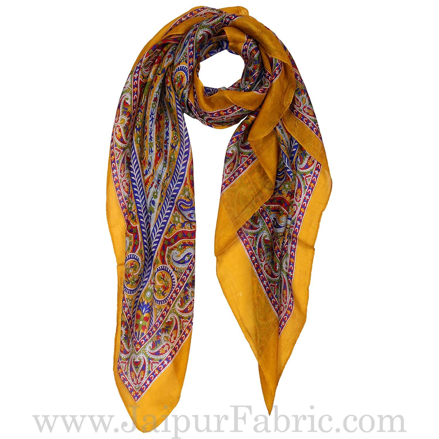 Silk Scarf Yellow Floral Design