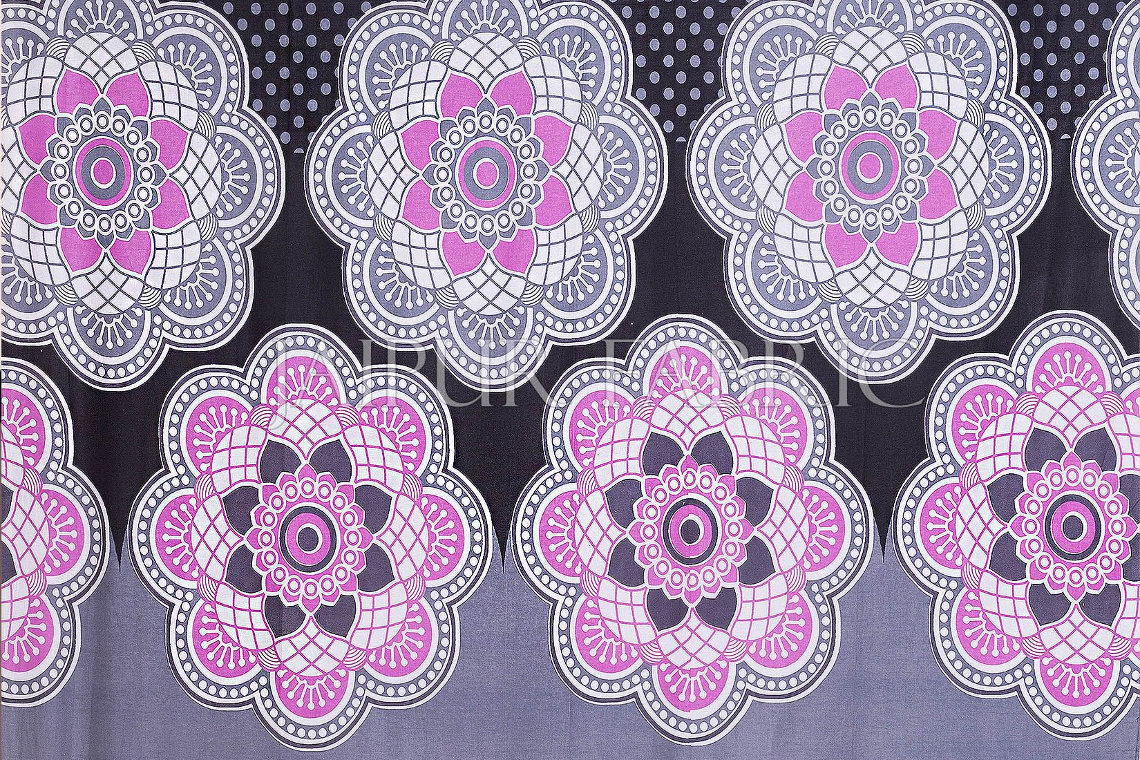 Black Border Rangoli Print Cotton Diwan Set