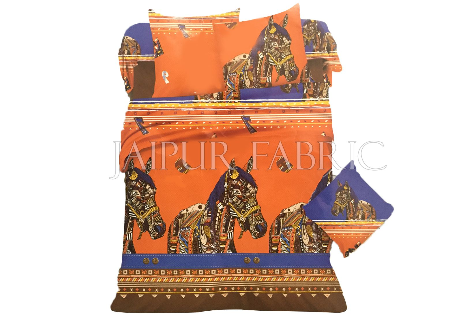 Orange Base Multi Color Horse Print Single Bed Sheet