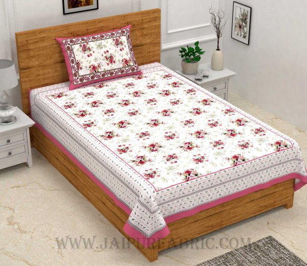 Pink Bunch of Flowers Single Bedsheet