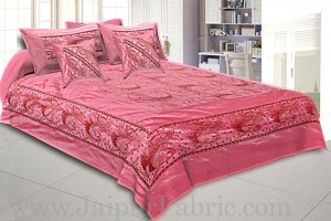 silk Bed Sheet  Pink Color With Lace Work Superfine bed cover