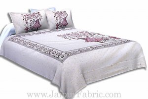 Twill Cotton Double Bedsheet Lavender Pink  Fir Tree Pattern