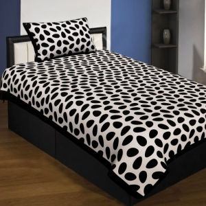 Black Border White Base Cow Print Cotton Single Bed Sheet with Pillow cover