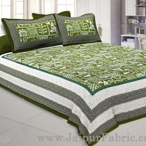 Double Bedsheet Green Border With Check Print Green Base