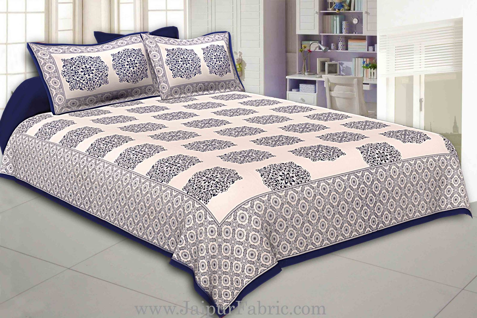 Blue Border With big Boota Super fine cotton Double bedsheet