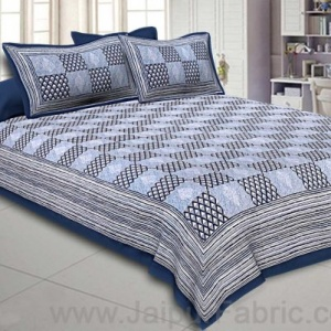 Double Bedsheet Light Blue Checkered Pattern