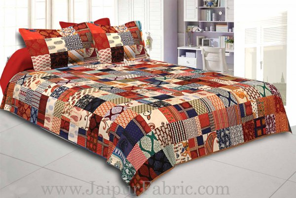 Mix  Small Tukdi Super Fine Cotton Golden Print Double Bedsheet2