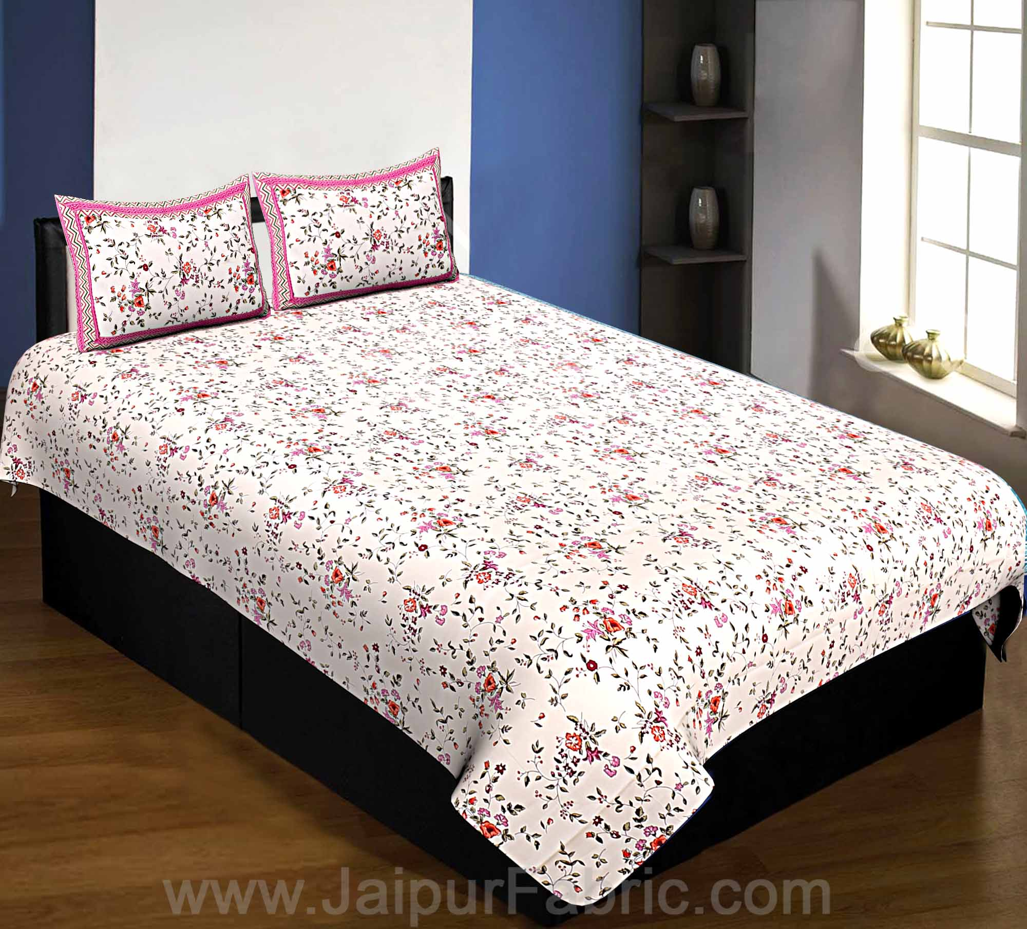 Pure Cotton 240 TC Single bedsheet in pink seamless floral print
