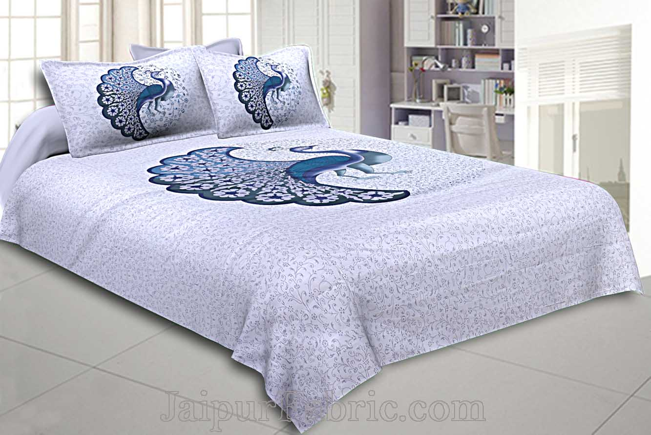 Twill Cotton Bedsheet Dancing Blue Peacock