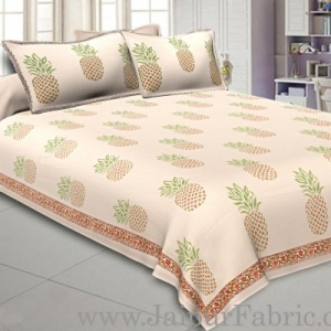 Double Bedsheet Fine Cotton Pineapple Print With Two Pillow Cover
