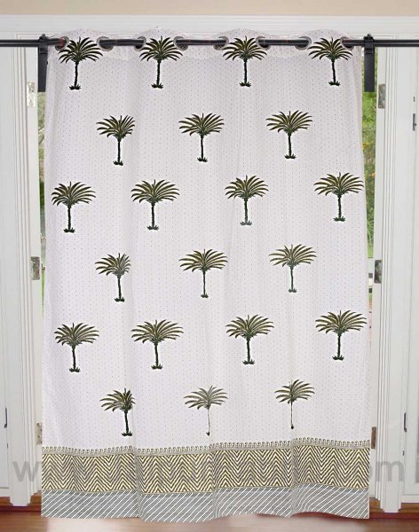Forest Green Palm Polka Cotton Grommet Curtain
