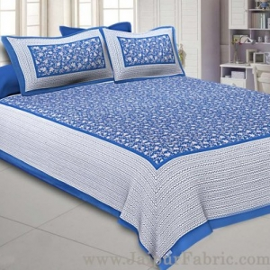 Floral Double Bedsheet Blue base with 2 Pillow Covers