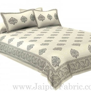 Double bedsheet Small  Black Tree kadi Print Smooth  Cotton Screen Print