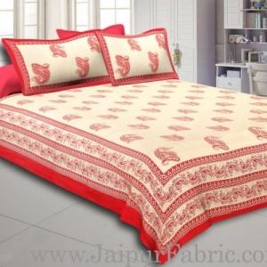 Dark Pink  Border Craem Base Dark Pink  Paisely Print Cotton Double Bed Sheet