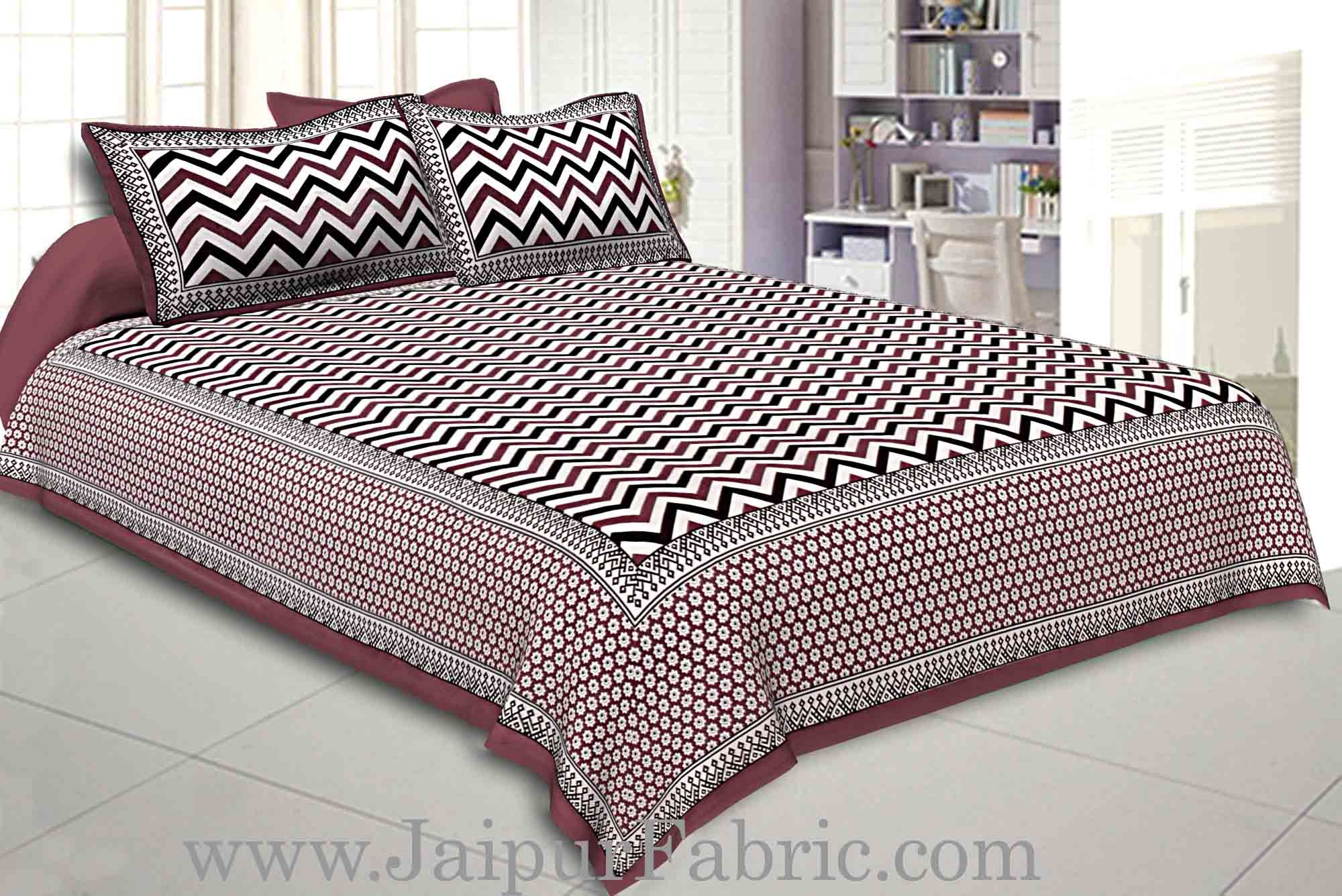 Double Bedsheet Light Maroon  Border  Fine Cotton  Zig -Zag Print
