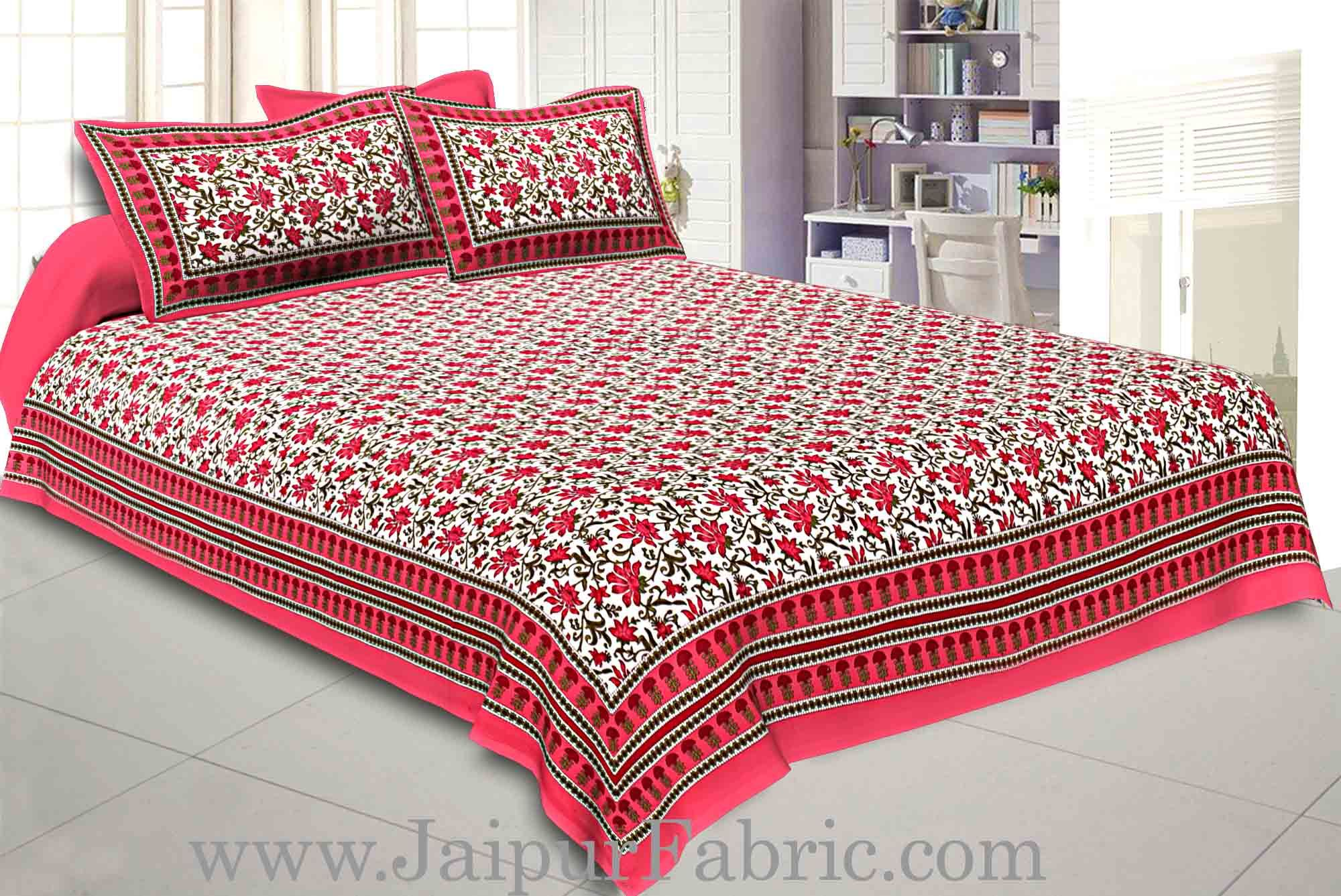 Double Bedsheet Rani Border Bell Print With Two Pillow Cover
