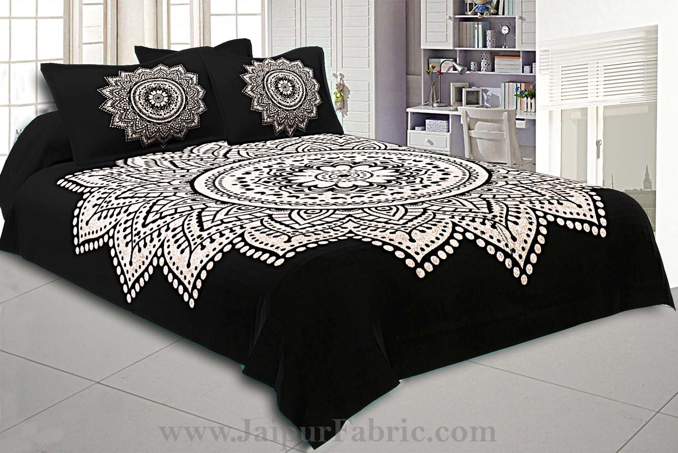 Big Rangoli Print Black & White Bedsheet