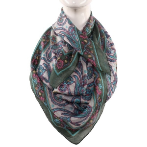 Silk Scarf Light Grey Bell Boota Print