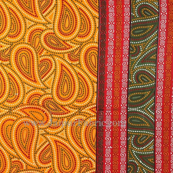 Yellow Border Black Border Maroon Base Paisley Dotted Print Cotton Double Bed Sheet