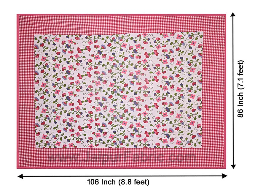 Floral Double Bedsheet Pink Color Checkred Border With 2 Pillow Covers