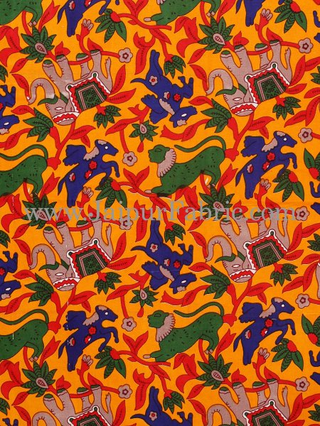 Yellow Border Elephant  and Bird Print Cotton Double Bed Sheet