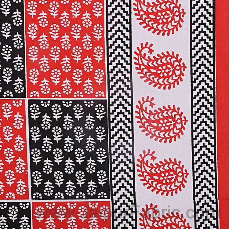 Double Bedsheet Red And White  Fine Cotton Checkerd Design