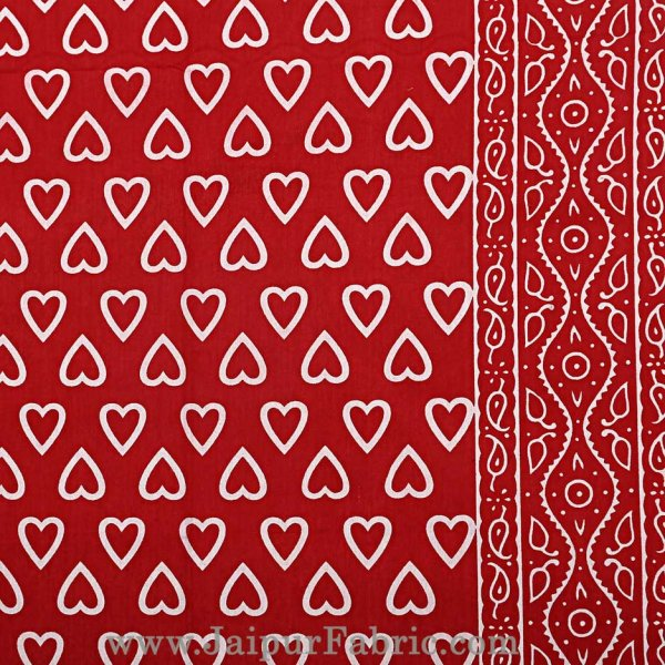 Red Hearts Double Bedsheet With 2 Pillow covers