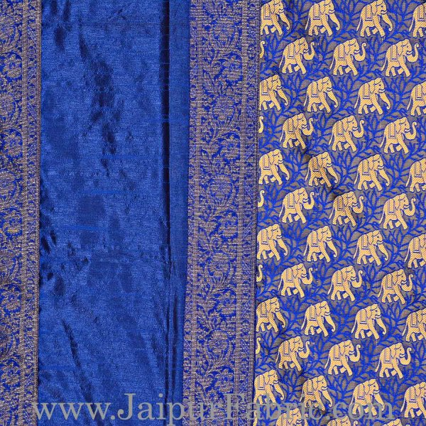 Blue Rajasthani Zari Embroidered Lace Elephant Thread Work Silk Double Bed Sheet