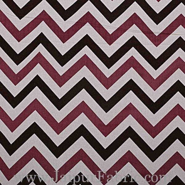 Double Bedsheet Light Maroon  Border  Fine Cotton  Zig -Zag Print