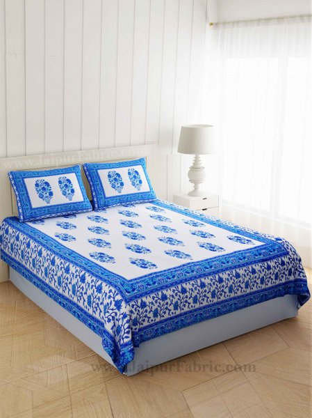 Gorgeous Glaze Cotton Blue Double Bedsheet