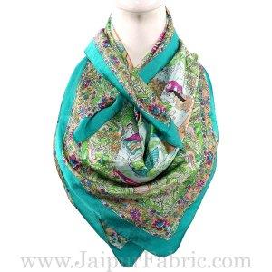 Silk Scarf Turquoise Modern Design
