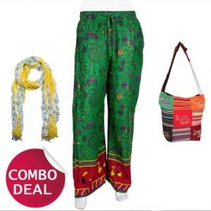COMBO6 - Set of Palazzo, Scarf and Bag