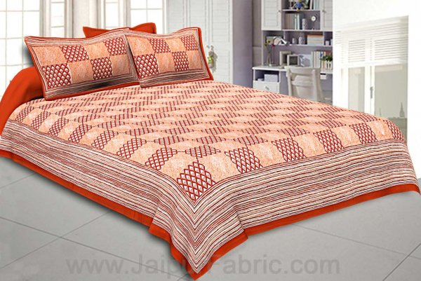 Double Bedsheet Burgundy Checkered Pattern