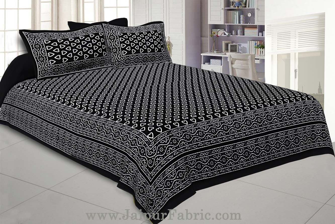 Black Hearts Double Bedsheet With 2 Pillow covers
