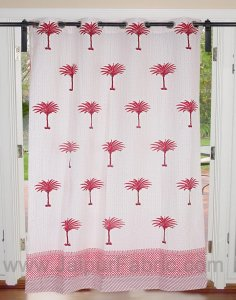 Sweet Pink Palm Polka Cotton Grommet Curtain