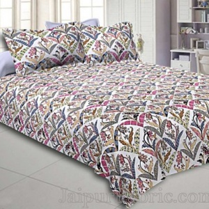 Seamless Geometric Floral Print Twill Cotton Pink Double Bedsheet