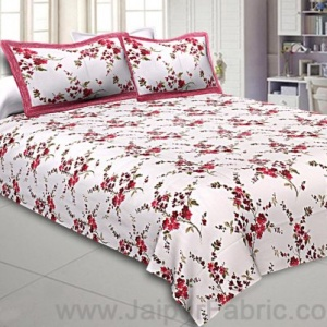 Pure Cotton 240 TC Double bedsheet in Red motif floral print