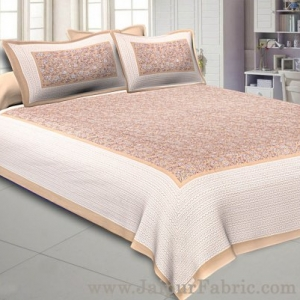 Floral Double Bedsheet Brown base with 2 Pillow Covers