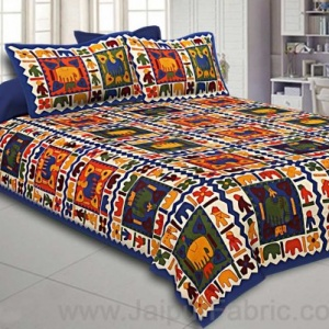 Blue Border Elephant Pattern Screen Print Double Bed Sheet