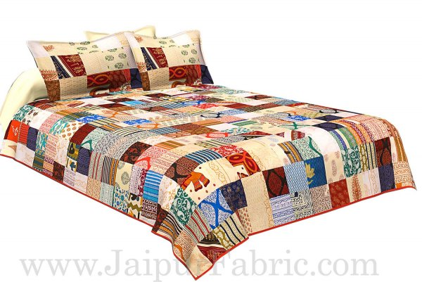 COMBO53- Set of 1 Double Bedsheet and  1 Single Bedsheet With  4 Pillow Cover