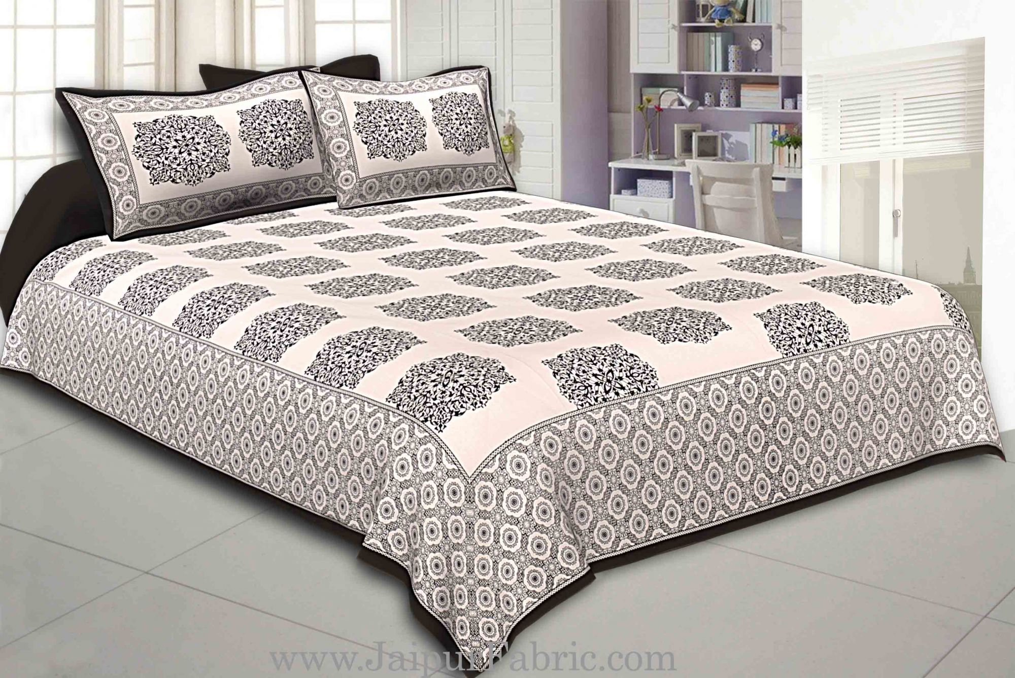 Black Border With big Boota Super fine cotton Double bedsheet