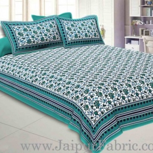 Double Bedsheet Sea Green Border Bell Perint With Two Pillow Cover
