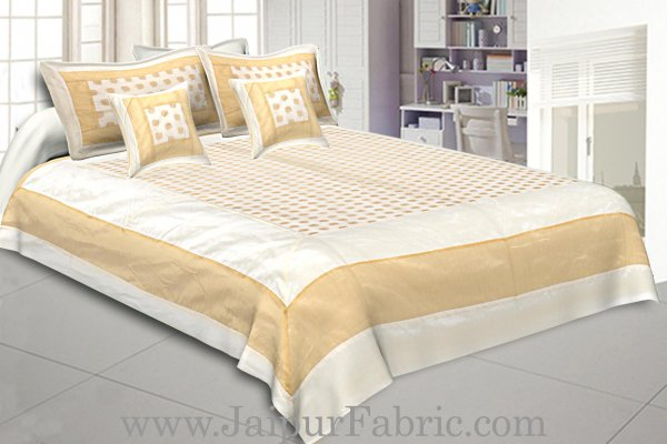 Chanderi Double Bedsheet  Golden Weave Work  Kerry Pattern