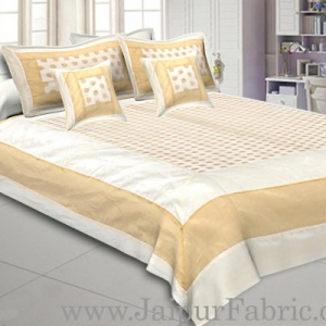 Chanderi Double Bedsheet  Golden Weave Work  Kerry Pattern